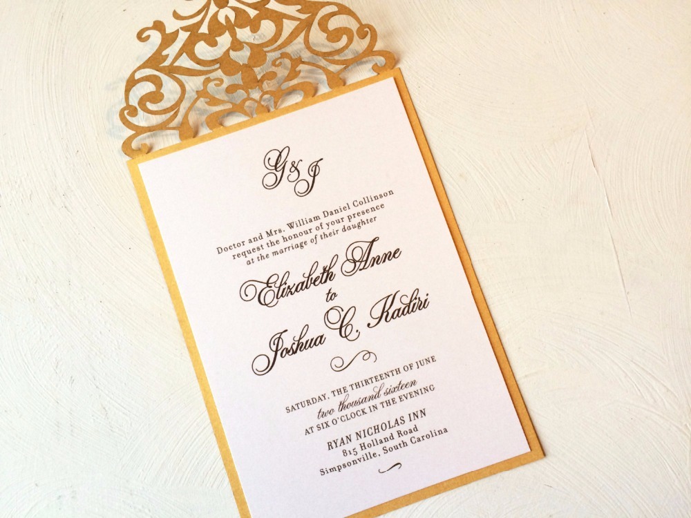 Customized gold Laser Cut Wedding Invitation,palm tree style ...