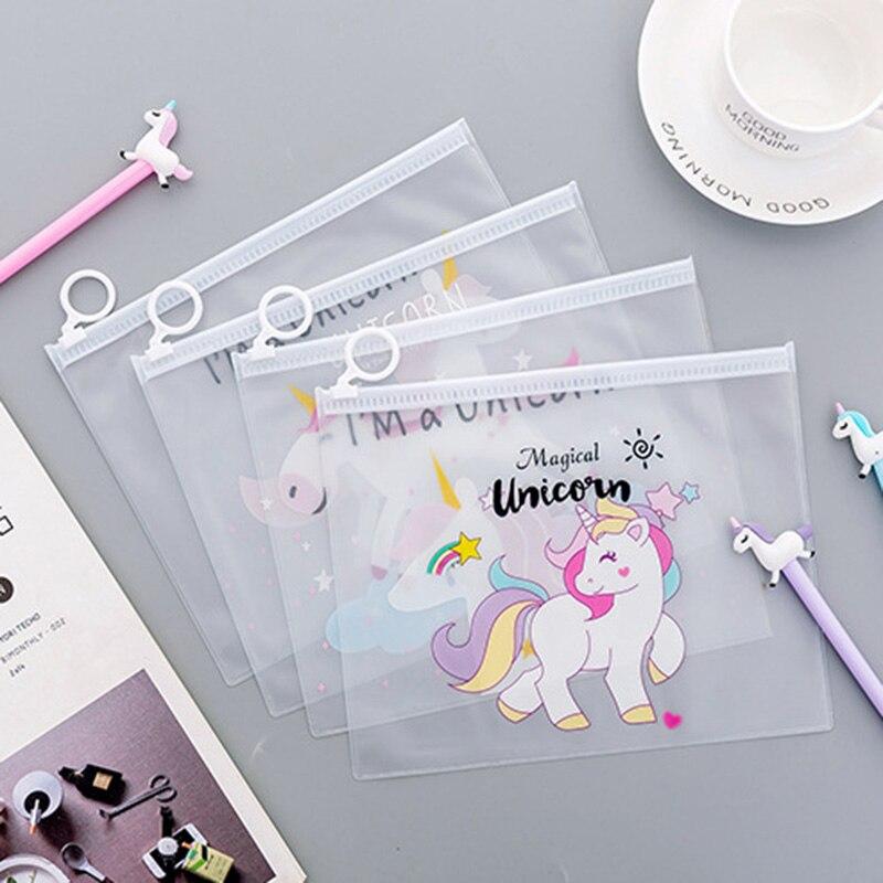 Unicorn Pencil Case Transparent PVC Cartoon Unicorn Pencil Bag For Kids Girls Gift  Kawaii Stationery Office School Supplies