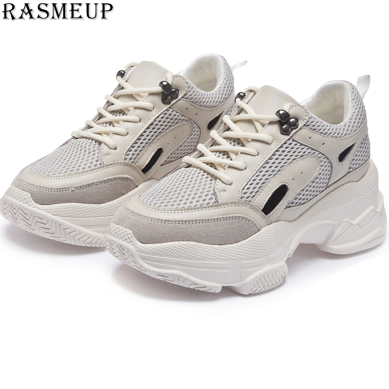 RASMEUP Genuine Leather Mesh Breathable Women s Platform Sneakers 2019 Fashion Height Increase Women Chunky Trainers