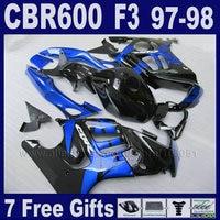 מעטפת ערכות מפעל ספיר כחול להונדה 1997 1998 CBR 600 F3 97 98 מתנות פלסטיק ABS 7 טנק כיסוי שחור fairing