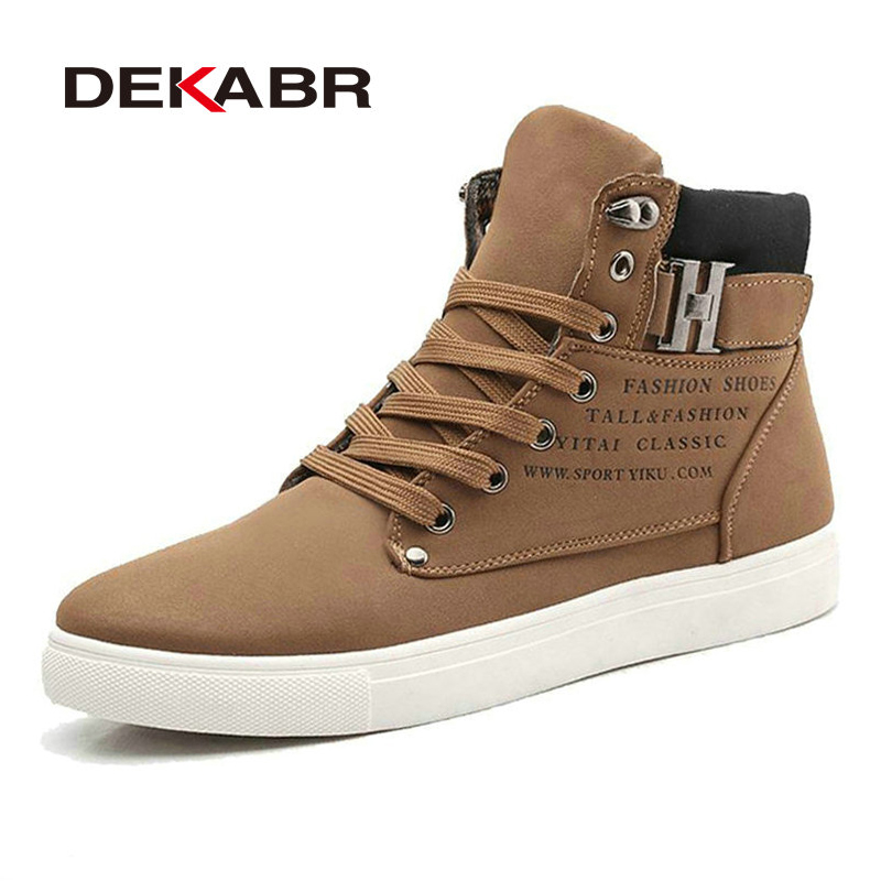 DEKABR New Men High Top Canvas Shoes Fashion Casual Shoes Autumn Winter Warm Fur Men Boots Men Leather Footwear Big Size 38~47 new 2017 autumn men leather shoes fashion design weave pattern handmade men casual leather shoes size 38 44