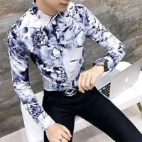 Men Floral Print Shirt Long Sleeve 2017 Autumn Flower Shirt Men Hawaiian Slim Fit Club Party