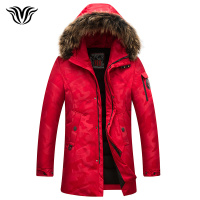 Men's long camouflage down jacket 2018 winter new style luxury high quality fur hooded thick warm fashion down jacket red black