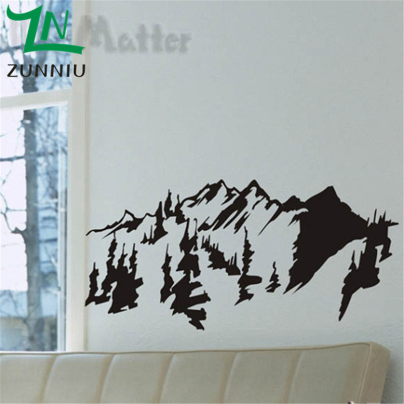 K003 Landscape Landscape Wall Stickers Mountains Trees Wall Art Decal Sticker Removable