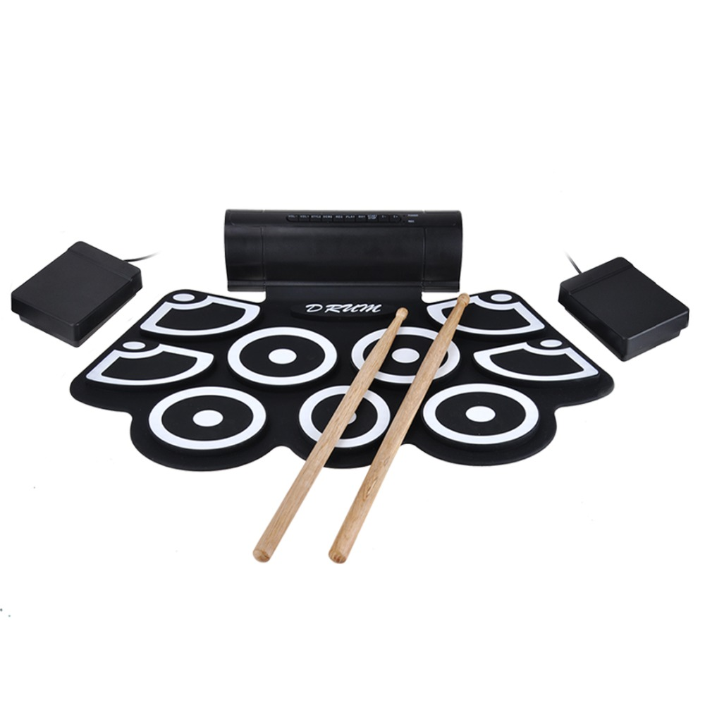 Portable Electronic Roll up MIDI Drum Pad Kits 9 Pads Built-in Speakers, Foot Pedals, Drumsticks, USB Cable for Practice support usb midi colorful portable roll up electronic drum set 9 silicon pads built in speakers with drumsticks foot pedals