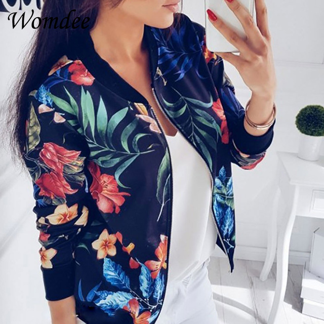 2018 Women Coat Retro Floral Print Zipper Up Jacket Casual Coat Autumn Long Sleeve Outwear Women Basic Jacket Bomber Famale 5XL