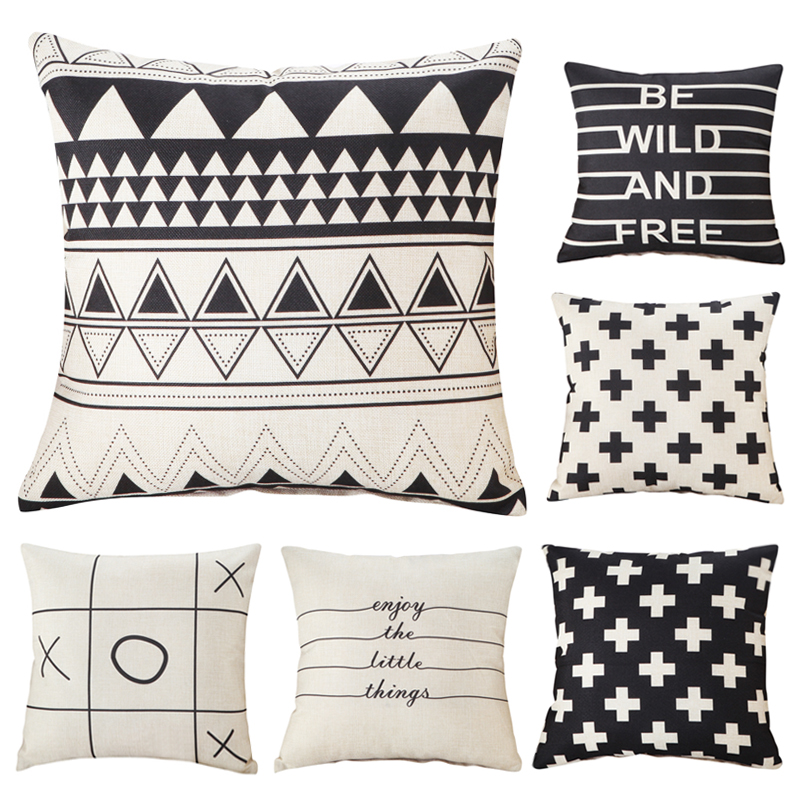Creative geometric XO cushions cover black and white decorative throw pillows chair seat home decor home textile gifts