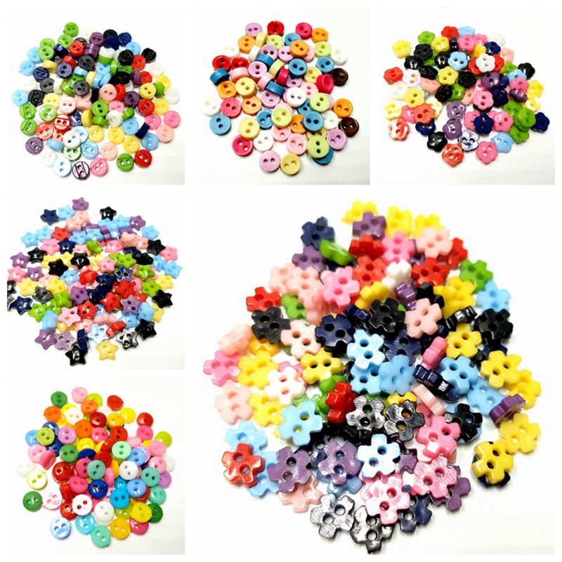 HL 100PCS 6MM Mini Plastic Buttons Mix Colors 6 Styles DIY Scrapbooking Kid's Apparel Sewing Dolls Decorations Accessories