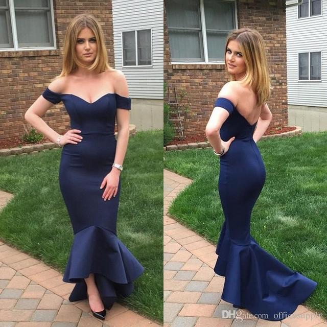 22a00cec60c2 Navy Blue Off Shoulder Mermaid Prom Evening Dresses 2017 Fitted High Low  Vestidos Hi-Lo Evening Party Gowns Robe De Soiree P101