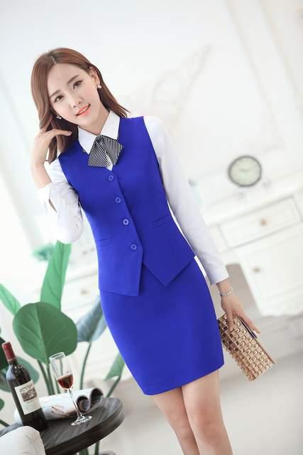 Trajes de negocios de moda para mujer con falda y chaleco conjunto de  Chaleco Ajustado ropa 64da4cf74c31