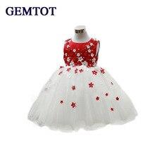 GEMTOT 2017 Nouvelles Filles Robe De Mariage Fleurs Floral Sans Manches Robes Enfants Vêtements Enfants D'été Enfants de Vêtements Montrent Princesse