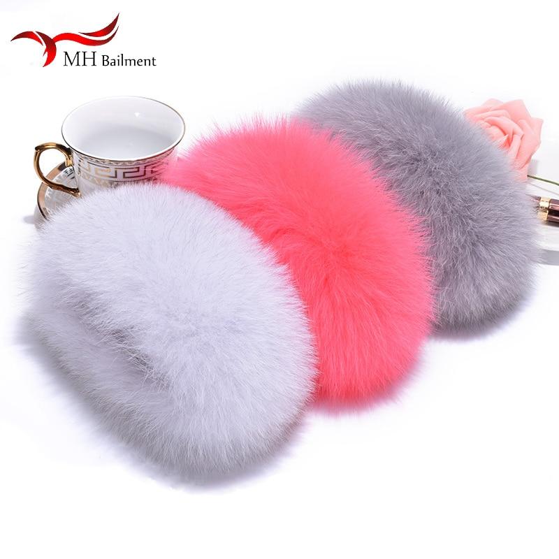 Female Fox Fur Cuffs Ladies Bracelet Wristband Arm Warm 2018 Winter Fashion Black Fox Fur Cuffs Authentic Sleeve Sleeves Women