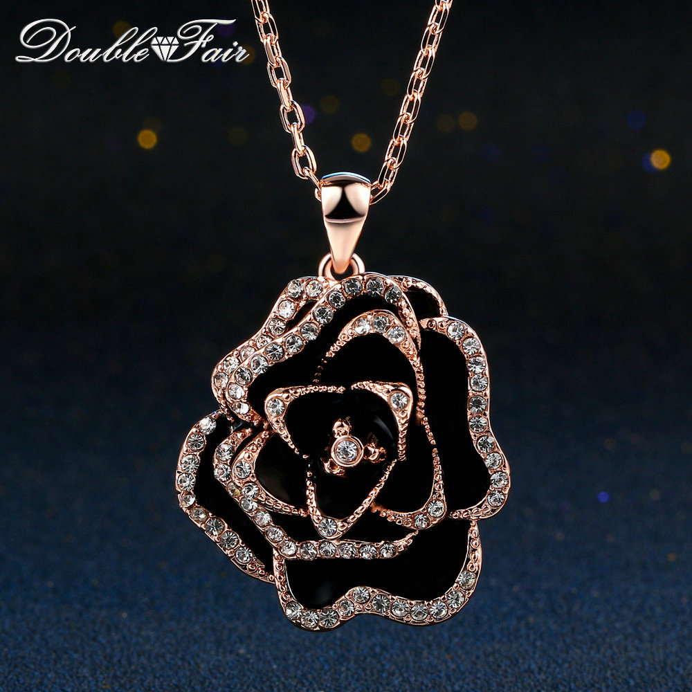 Double Fair Hyperbole Rose Gold Color Flower Necklaces & pendants Big Black Rose Fashion Jewelry For Women Chain colares DFN516