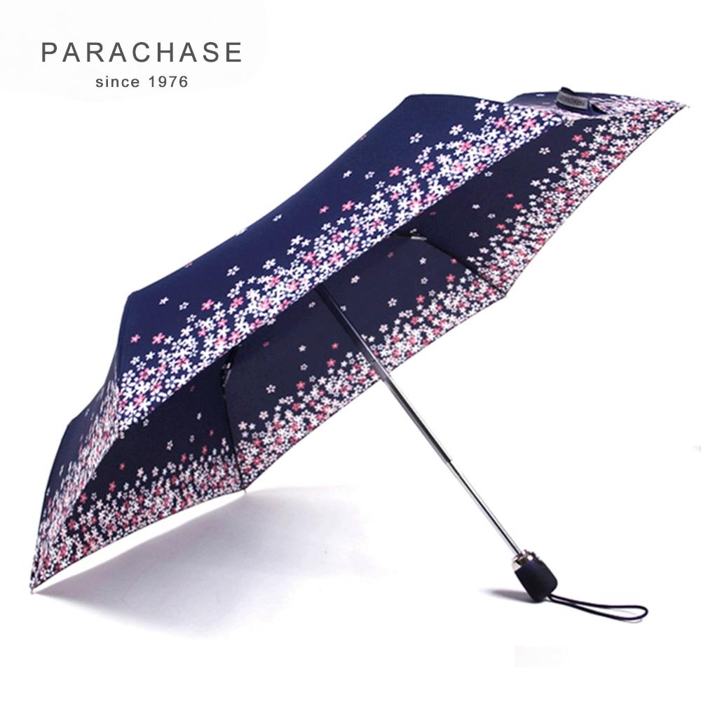 Parachase esernyő eső nők japán stílusú cseresznye minta automatikus összecsukható napernyő alumínium szélálló virág esernyő 6K