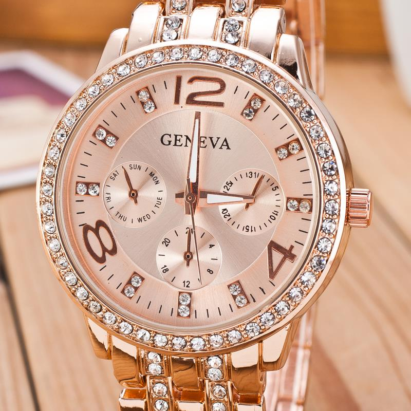 2019 New Famous Brand Gold Crystal Genève Casual Quartz horloge - Dameshorloges - Foto 4