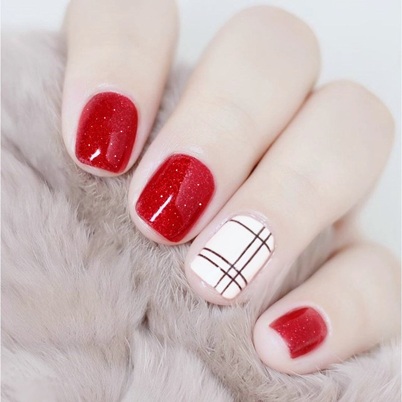 Fashion Simple 24pcs/set Wine red Star Point false nails,lattice line design Short size lady full nail tips art tool bride