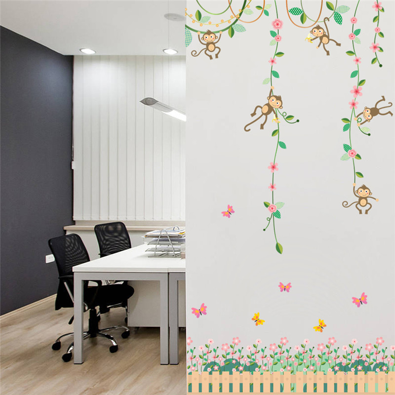 Garden Monkeys Height Measure Wall Stickers For Kids Rooms Butterfly fence  flower Height chart 3d Nursery Room Decor Poster-in Wall Stickers from Home  ... 8df454ac6784