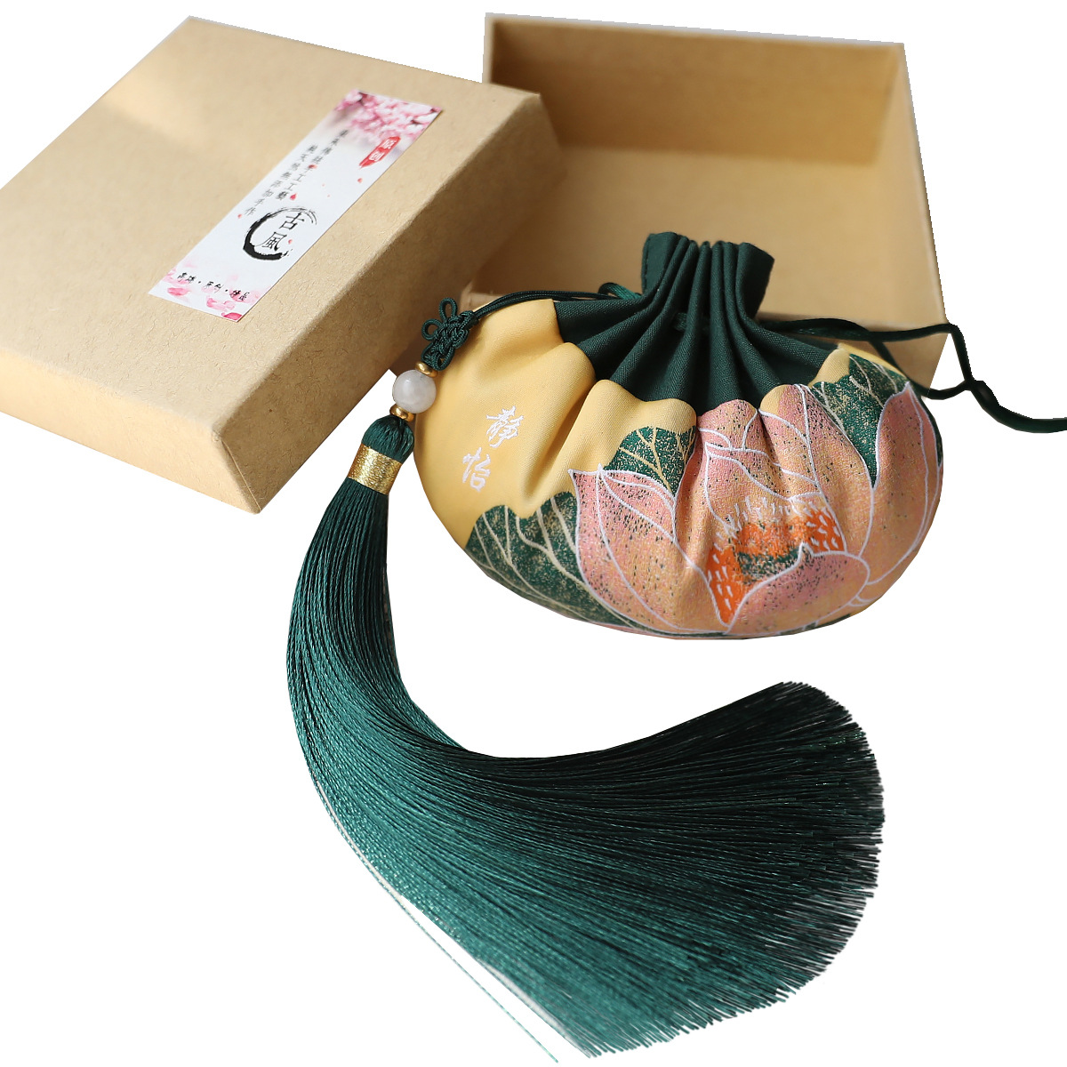 High Quality Chinese Style Palace Sachet Bag Retro Series Green Palace Sachet Bag Tassel Car Decoration Gift Bag Jewelry Bags