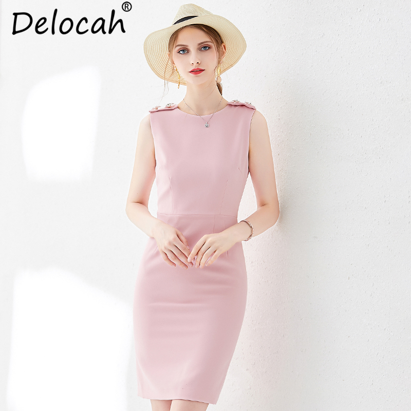 Delocah femmes été rose mince robe piste mode sans manches recueillir taille élégante décontracté célébrité fête Midi robes 2019 - 2