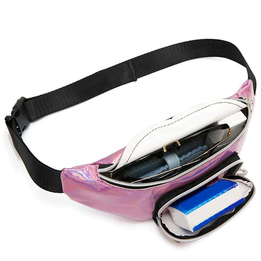 Moda señora hombros lentejuelas cintura paquete carta monedero teléfono móvil bolso mensajero bolso pecho Unisex paquete señoras bolsas de cintura