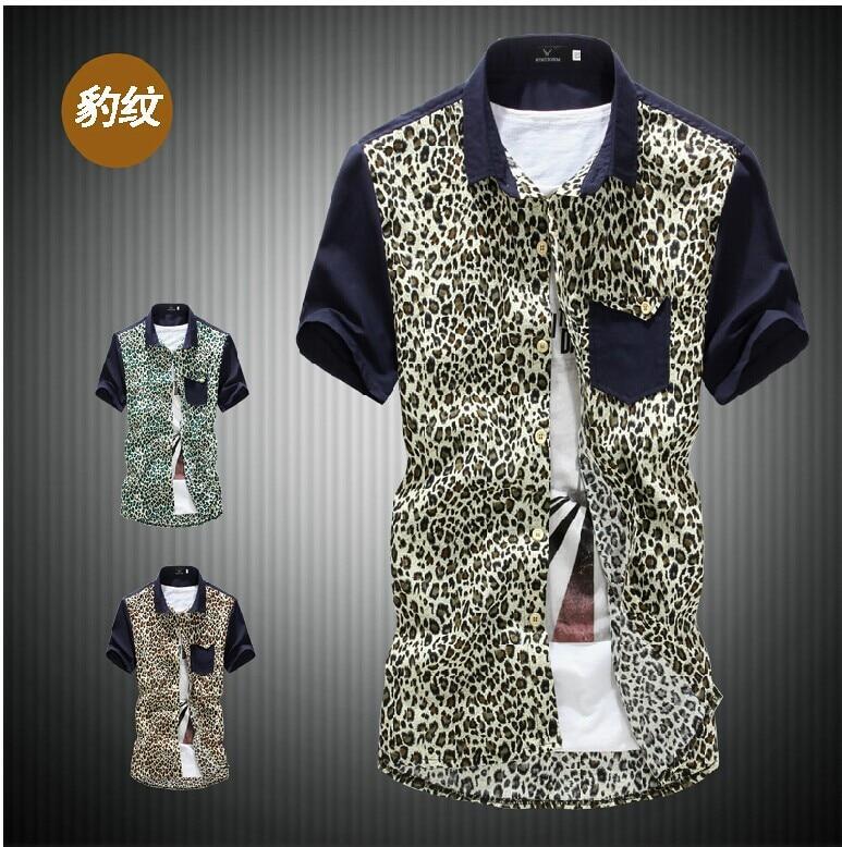 2016 Mens Slim Fit Man Top Short Sleeve Shirts Leopard Printed Fl Beach Dress Blue Brown Grey M L