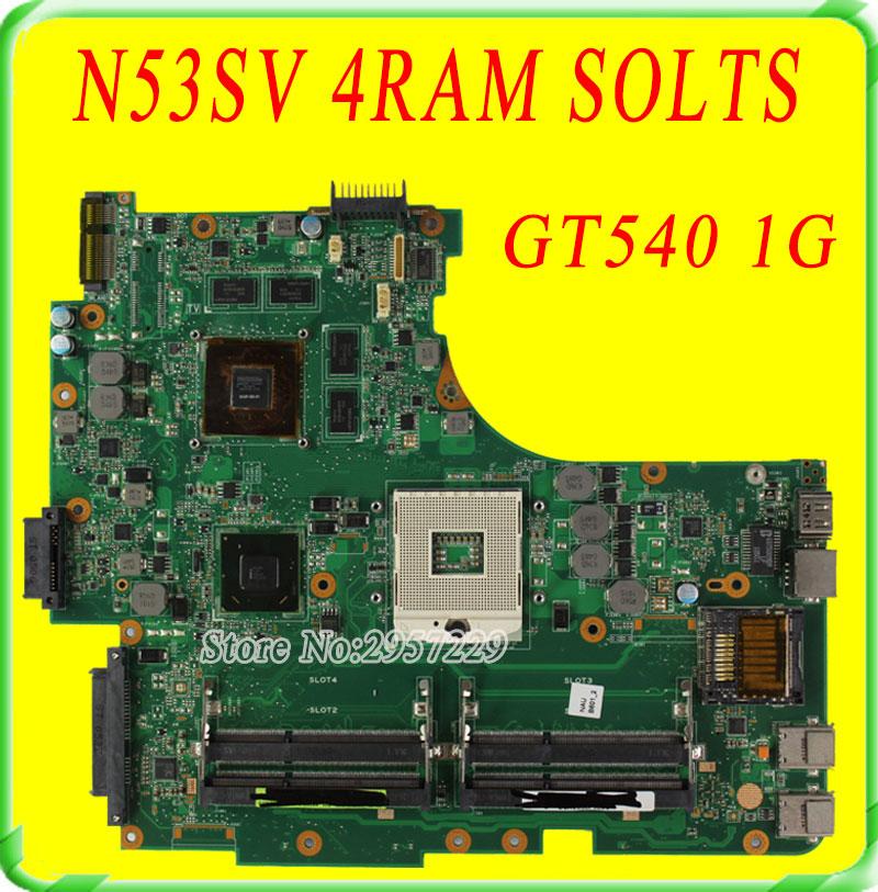 все цены на  For Asus Motherboard N53S N53SN  N53SM N53SV Rev 2.2 GT540 1G 4Ram Solts  N12P-GS-A1 100% Working  онлайн