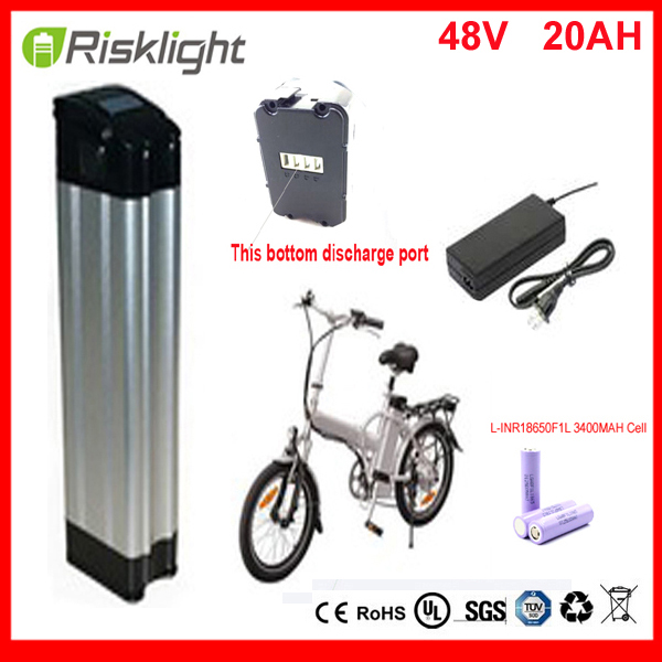Bottom discharge ebike battery electric bike battery 48V 20Ah,for bafang/8fun 1000W motor with Aluminium Case For LG 18650 cell