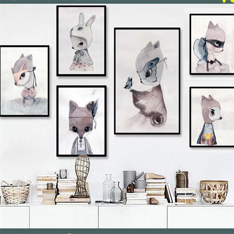Bedroom Art Supplies: Home Decor Nordic Canvas Painting Wall Art DIY Rabbit Fox
