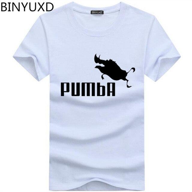 BINYU 2018 śmieszne koszulki słodkie koszulki z krótkim rękawem homme Pumba mężczyźni z krótkim rękawem bawełniane topy fajne t shirt lato koszulka kostium moda t-shirt