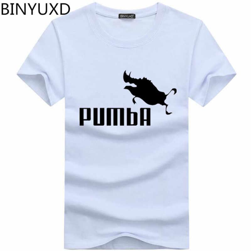 Binyu 2018 Lucu TEE Lucu Kaos Homme Pumba Pria Lengan Pendek Atasan Katun Keren T Shirt Musim Panas Jersey Kostum kaos Fashion