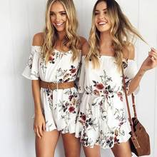 Print cold shoulder ruffles jumpsuit romper women V neck backless strap short overalls Casual summer beach playsuit WF519(China)