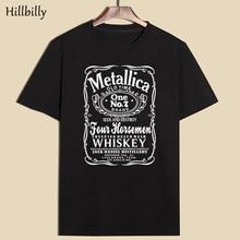 Hillbilly Men s T Shirts Summer 2017 Metallica Old Time Black Cotton Short Sleeve O Neck