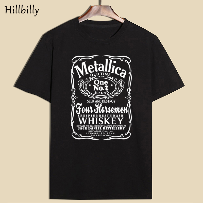 Hillbilly Men's   T     Shirts   Summer 2017 Metallica Old Time Black Cotton Short Sleeve O-Neck   T  -  Shirts   Plus Size Casual Tees & Tops