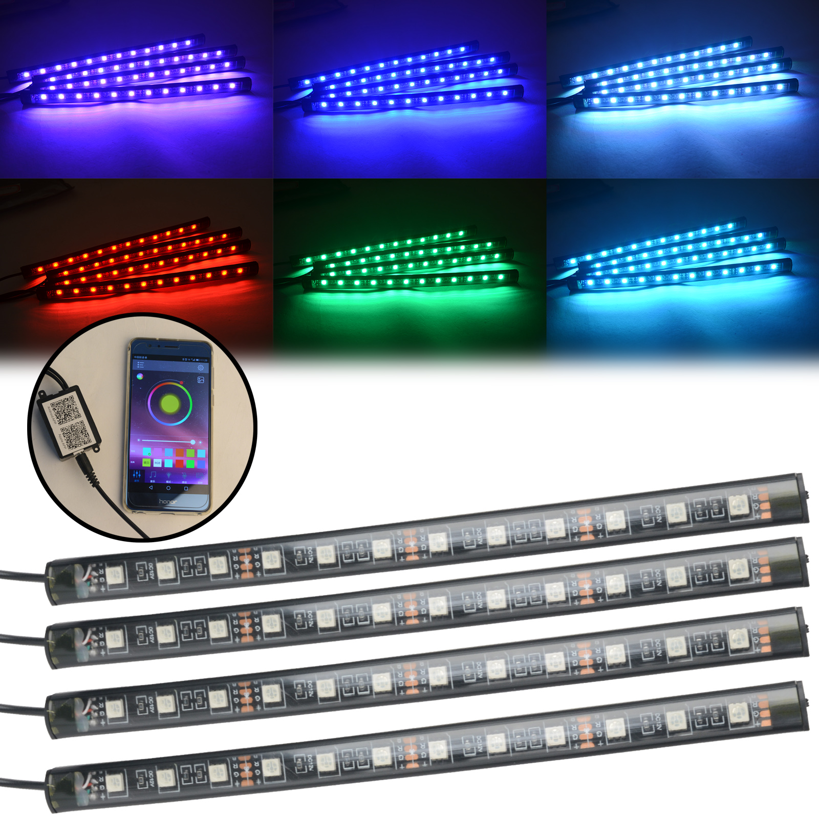 Mayitr 4pcs Multicolor RGB 5050 Car 12 SMD LED Strip Lamp Neon Interior Decorative Atmosphere Light Phone APP Music Control Kit for toyota corolla avensis yaris rav4 auris hilux prius app control car interior atmosphere decoration lamp rgb led strip light