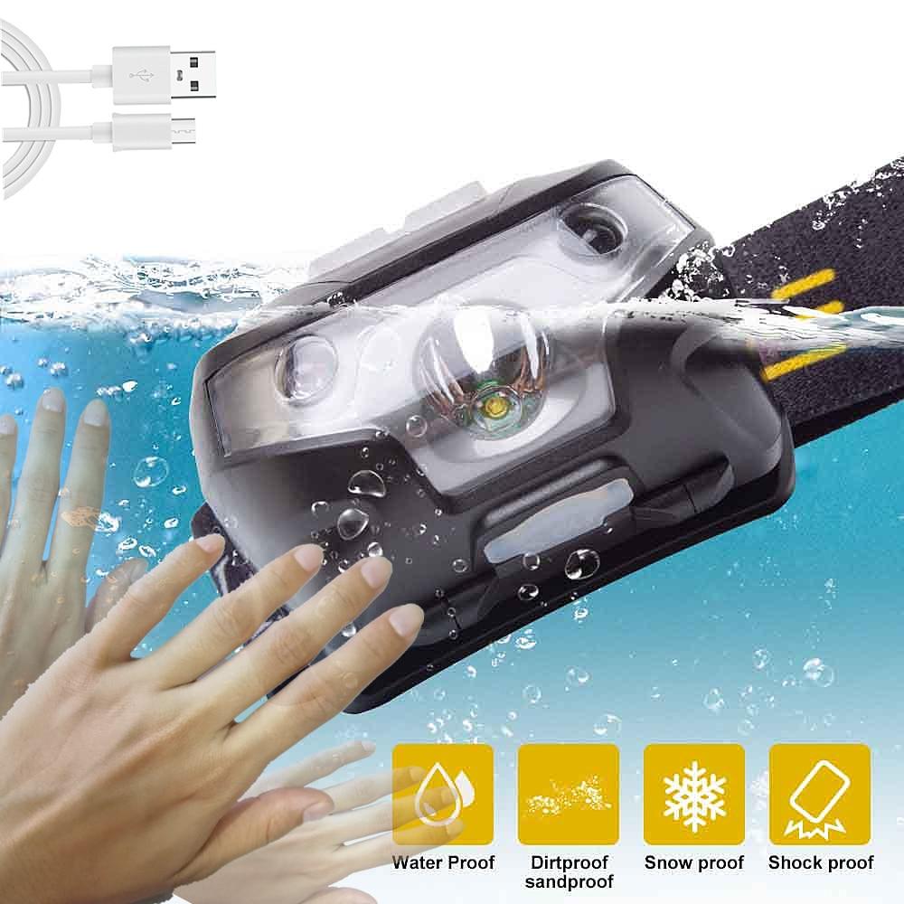 LED Rechargeable Headlamp USB Motion Sensor Headlamp Waterproof Camping Flashlight Head Light Torch Lamp Outdoor Runing Light