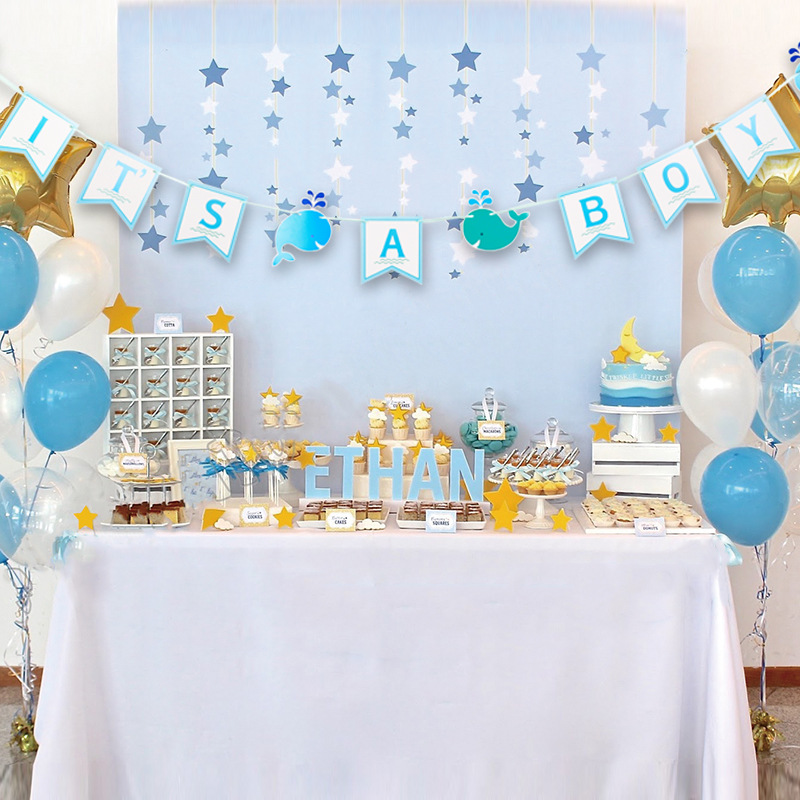 Boy Blue Stripes Diamonds Welcome Home New Baby Bunting Banner Garland