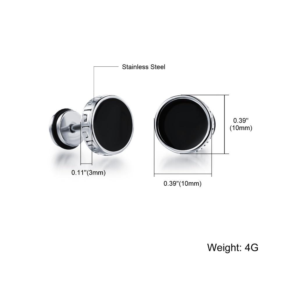 Men earrings screw back black earring for men stud earrings w/ Great Wall stainless steel earring jewelry wholesale GE302