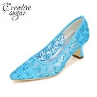 Creativesugar sequins xem thông qua không khí ren lưới bling lady giày nhọn toe heel low giày bên hot hồng sky blue vàng ngà
