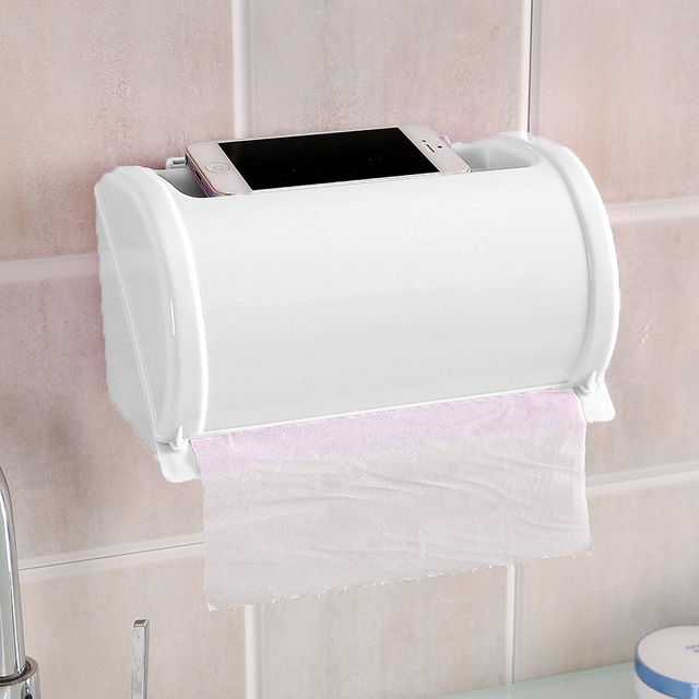 Multi Purpose Paper Towel Rack Bathroom Waterproof Roll Tissue Box Free Punch Strong No Trace Of Sanitary Tray