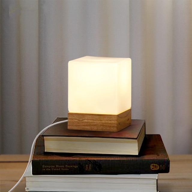 mordern holz glas tischlampe zucker lampenschirm abajur schlafzimmer nachttischlampen wohnzimmer schreibtischlampe leuchten luminaria - Nachttischlampen