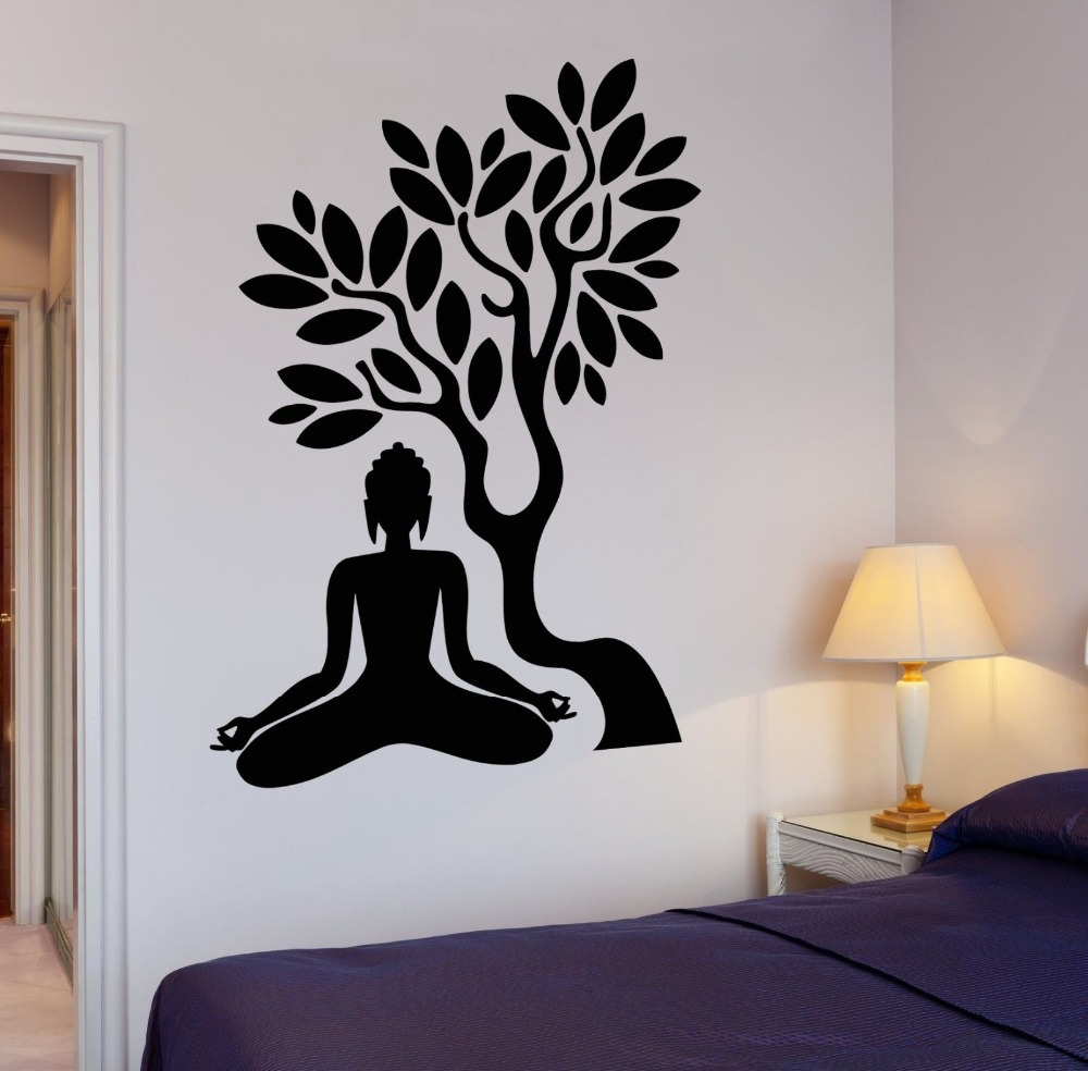Buddha Vinyl Decal Buddha Tree Blossom Yoga Meditation Relaxation OM Zen  Mural Art Wall Sticker Living