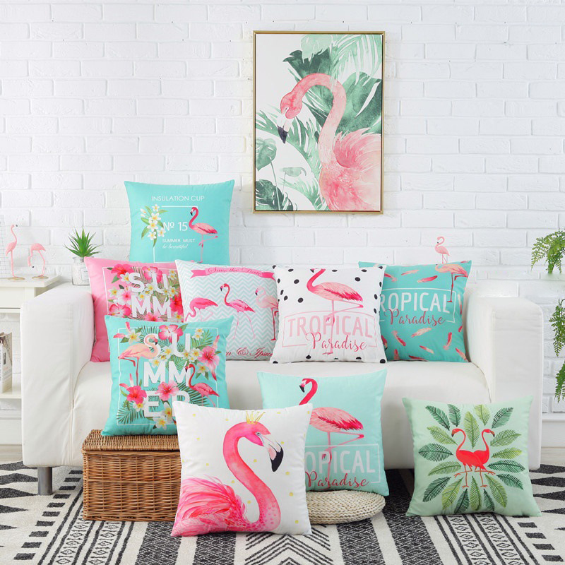 Printed Cushion Covers Pillow Cases Home Decor or Inner Flamingo