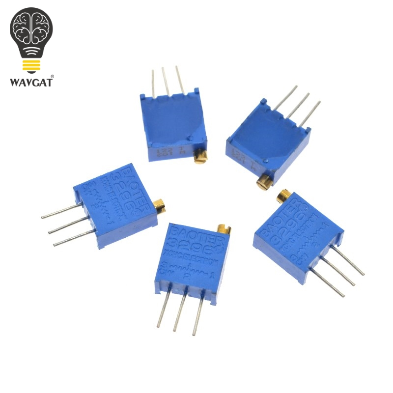 3296W 50 <font><b>100</b></font> 200 500 1K 2K 5K 10K 20K 50K 100K 200K 500K 1M ohm Multiturn Trimmer Potentiometer High Precision Variable Resistor image