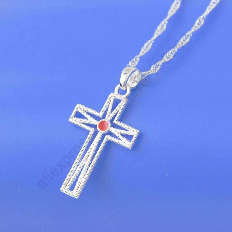 Top คุณภาพ Cross Shape สร้อยคอผู้หญิงผู้ชายจริง 925 Pure 925 Sterling Silver คริสตัลของขวัญของขวัญมีชีวิตชีวาเหมาะสำหรับ
