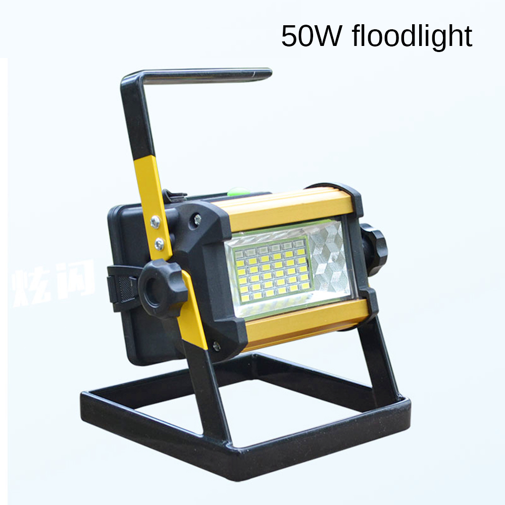 LED Floodlight 50W Waterproof IP67 Rechargeable 36 leds  Protable Outdoor Lighting Battery SOS White Bule Red 50w 25 led red