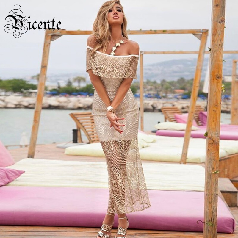 Out Of Size Clearance Sale! Elegant Gold Floral Lace Off the Shoulder Patchwork Celebrity Style Wholesale Maxi Bandage Dress