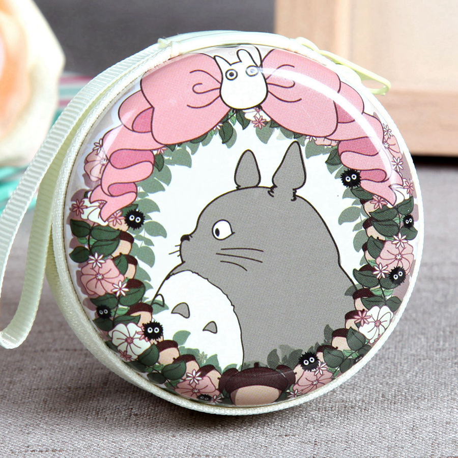 YOUYOU MOUSE Totoro Zipper Women Coin Purse Mini Cute Round Headset Casual Tin Key Wallet Pouch Bag Fashion Unisex Coin Packet