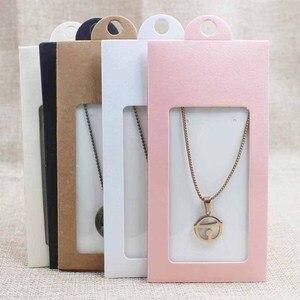 Image 4 - 50PCS vari colori pacchetto regalo e contenitore di caramella scatola di finestra di visualizzazione con il gancio della collana/orecchino dei monili di imballaggio finestra box