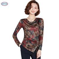 NFIVE Brand 2018 Women Thin Slim T shirts New Fashion Korean Autumn Printing Shirt Long Sleeves Round Collar Bottoming T shirt