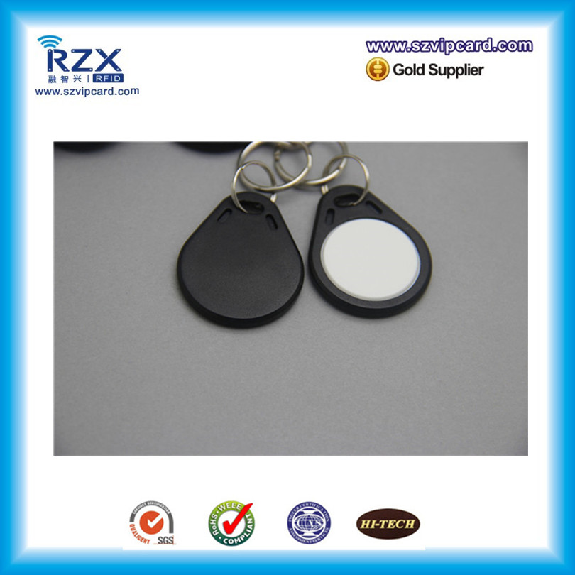 free shipping 100pcs Black& white ABS key fob MIFARE Classic 1K proximity rfid fob 13.56Mhz smart keyfob free shipping 1 pc full black white 100